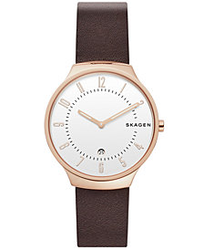 Skagen Men's Grenen Dark Brown Leather Watch 38mm