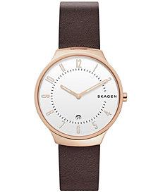 Skagen Men's Grenen Dark Brown Leather Watch 38mm