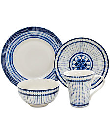 222 Fifth Shibori Blue 16-Pc. Dinnerware Set, Service for 4