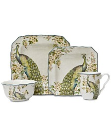 222 Fifth Empress Garden Teal 16-Pc. Dinnerware Set, Service for 4