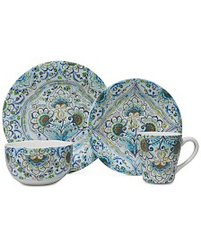 222 Fifth Aisha Blue 16-Pc. Dinnerware Set, Service for 4
