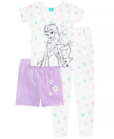 Disney's® Frozen Little & Big Girls 3-Pc. Cotton Pajama Set, Created for Macy's