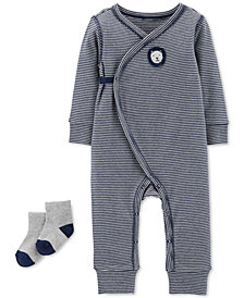 Carter's Baby Boys 2-Pc. Striped Kimono Coverall & Socks Set