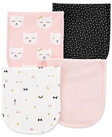 Carter's Baby Girls 4-Pack Printed Burp Cloths