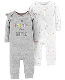 Carter's Baby Girls 2-Pack Printed Cotton Coveralls