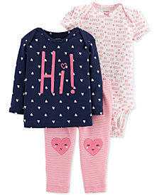 Carter's 3-Pc. Baby Girls Cotton Top, Bodysuit & Pants Set
