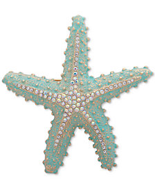 Anne Klein Gold-Tone Crystal Starfish Pin, Created for Macy's