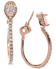 Anne Klein Crystal E-Z Comfort Clip-On Hoop Earrings