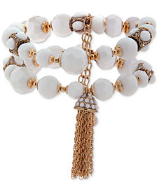 Anne Klein Gold-Tone Pavé, Bead & Chain Tassel Double-Row Stretch Bracelet