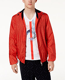 A|X Armani Exchange Men's Water Resistant Geometric Hooded Windbreaker