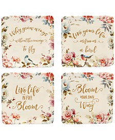 Certified International Beautiful Romance Canapé Plates, Set of 4