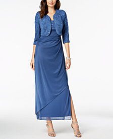 Alex Evenings Draped Jacquard Gown & Jacket