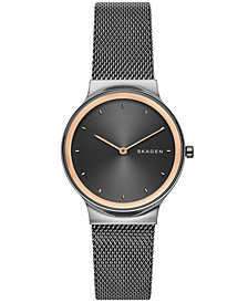 Skagen Women's Freja Dark Gray Stainless Steel Mesh Bracelet Watch 34mm