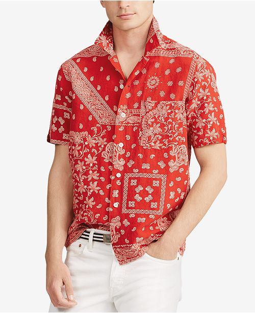 52dc92322 ... Polo Ralph Lauren Men s Bandana Print Classic-Fit Short-Sleeve Shirt ...