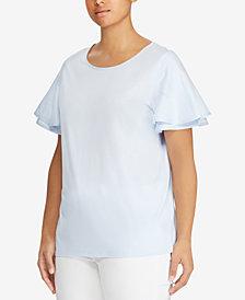 Lauren Ralph Lauren Plus Size Flutter-Sleeve Top