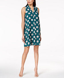 Vince Camuto Pleated Floral-Print Shift Dress