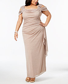 R & M Richards Plus Size Draped Cold-Shoulder Gown