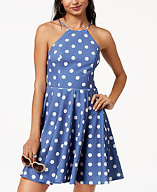 City Studios Juniors' Polka Dot Fit & Flare Dress