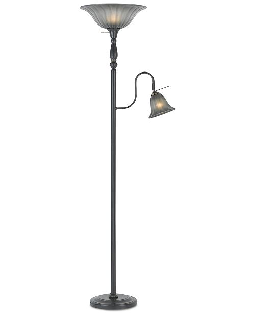 Cal Lighting Dark Bronze Torchiere Floor Lamp With Reading Lamp