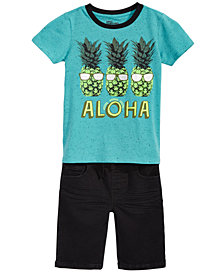 Epic Threads Little Boys Graphic-Print T-Shirt & Denim Shorts Separates, Created for Macy's