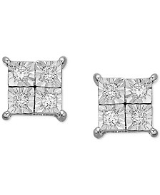 Diamond Accent Square Earrings in 14k White Gold