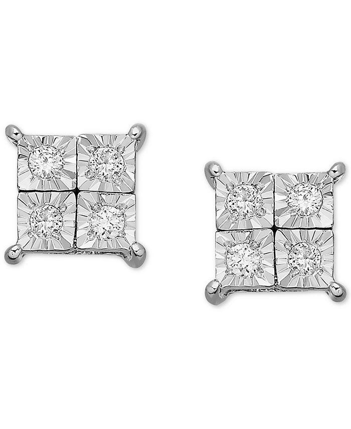 Macy's - 14k White Gold Earrings, Diamond Accent Square