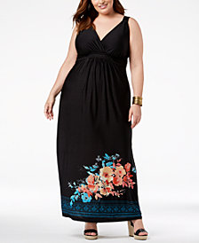 John Paul Richard Plus Size Floral-Print Surpice Dress