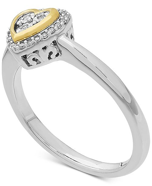 Macy's Diamond Heart Ring in 14k Gold over Sterling Silver (1/10 ct. t.w.)