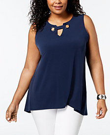 Alfani Plus Size Embellished Top, Created for Macy's