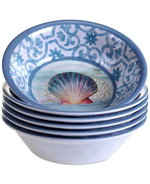 Certified International Ocean Dream Melamine All-Purpose Bowls, Set of 6
