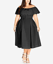 City Chic Trendy Plus Size Off-The-Shoulder Midi Dress