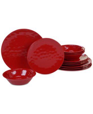 Red Melamine 12-Pc. Dinnerware Set, Service for 4