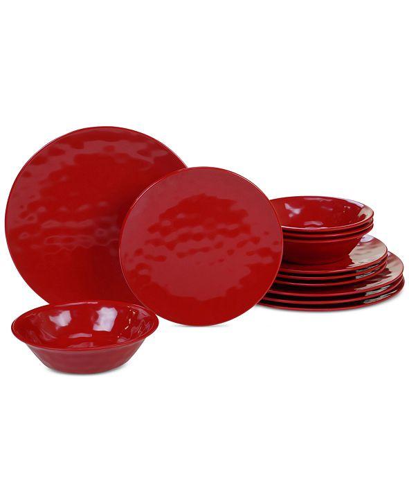 Certified International Red Melamine 12-Pc. Dinnerware Set, Service for 4