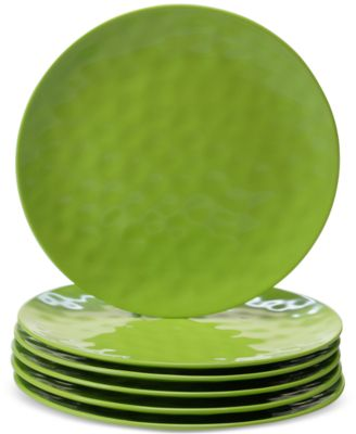 6-Pc. Green Melamine Dinner Plate Set
