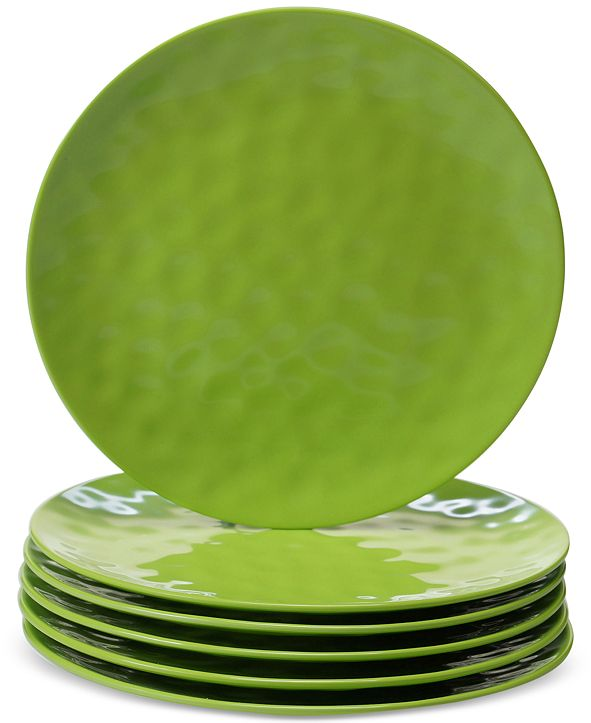 Certified International 6-Pc. Green Melamine Dinner Plate Set