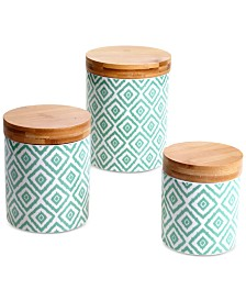 Certified International Chelsea Mix & Match Green Ikat Canisters, Set of 3
