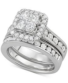 Diamond Princess Halo Bridal Set (2-7/8 ct. t.w.) in 14k White Gold