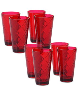 Ruby Diamond Acrylic Set of 8 Acrylic Ice Tea Glasses