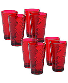 Certified International Ruby Diamond Acrylic Set of 8 Acrylic Ice Tea Glasses