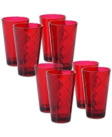 Certified International Ruby Diamond Acrylic Set of 8 Acrylic Ice Tea Glasses