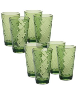 Green Diamond Acrylic 8-Pc. Iced Tea Glass Set