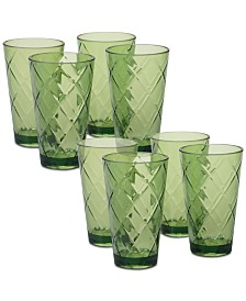 Certified International Green Diamond Acrylic 8-Pc. Iced Tea Glass Set