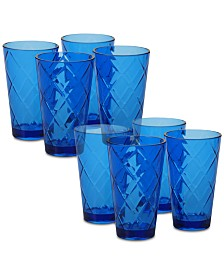Certified International Cobalt Blue Diamond Acrylic 8-Pc. Iced Tea Glass Set