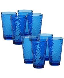 Certified International Cobalt Blue Diamond Acrylic 8-Pc. Iced Tea Glass Set