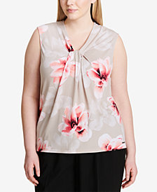 Calvin Klein Plus Size Twist-Neck Top