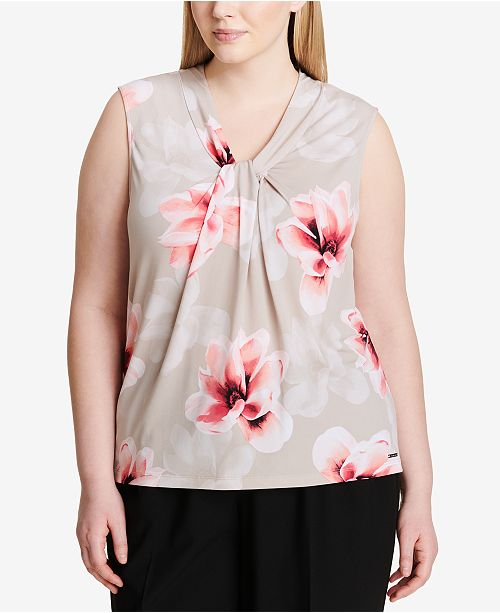 c1be2af2b4640 Calvin Klein Plus Size Twist-Neck Top - Tops - Women - Macy s
