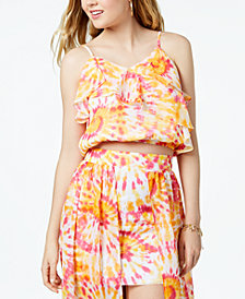 The Edit By Seventeen Juniors' Printed Ruffled Crop Top, Created for Macy's