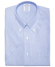 Brooks Brothers Men's Regent Slim-Fit Non-Iron Polo Button Down Blue Stripe Short Sleeve Dress Shirt