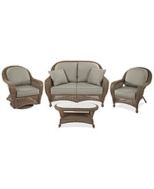 Sandy Cove Outdoor Wicker 4-Pc. Seating Set (1 Loveseat, 1 Club Chair, 1 Swivel Glider and 1 Coffee Table)Custom Sunbrella®, Created for Macy's