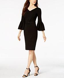Calvin Klein Belted Bell-Sleeve Dress